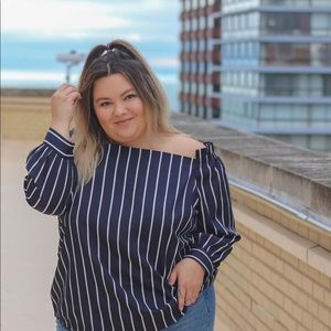 Tops - Striped Off the Shoulder Blouse